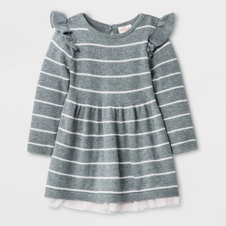 Cat & Jack Baby Girls' Ruffle Shoulder Sweater Long Sleeve Jumpsuit - Cat & JackTM