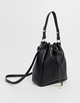 Asos Design DESIGN bonded bucket bag-Black
