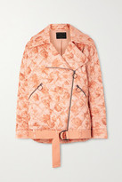 Mother of Pearl Net Sustain Quilted Floral-print Satin Biker Jacket - Peach