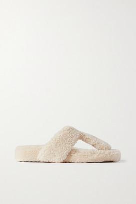 Aquazzura Relax Shearling Sandals - Cream
