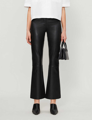 Topshop Boutique kick-flare leather trousers