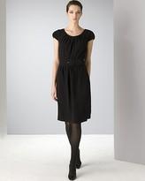 Women's Cap Sleeve Belted Crepe Sheath Dress
