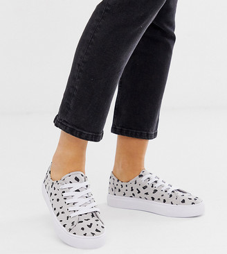 Asos Design DESIGN Wide Fit Dusty lace up sneakers in gray print