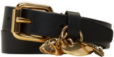 Alexander McQueen Black and Gold Safety Pin Double Wrap Bracelet