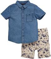 Mini V by Very Toddler Boys Denim Shirt and Dino Printed Shorts Set (2 Piece)