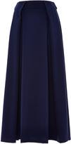Zac Posen Tropical Wool Box Pleat Midi Skirt