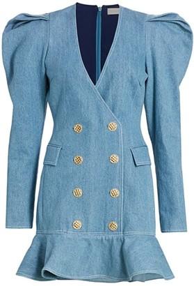 Ronny Kobo Carla Puff-Sleeve Denim Blazer Dress