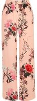River Island Womens Pink floral print wide leg pants
