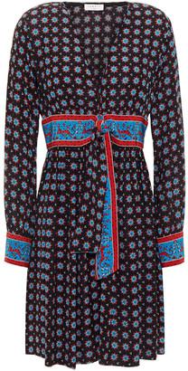 Sandro Tie-front Printed Crepe De Chine Mini Dress