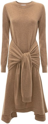 J.W.Anderson A-line Midi Knit Dress W/ Belt Detail