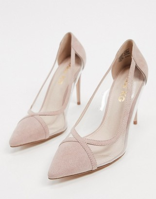 Miss KG cress pointed high heels in beige with clear