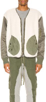 Greg Lauren Sherpa Washed Modern Flight Jacket in Ivory & Army | FWRD