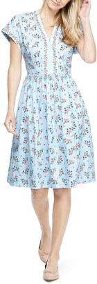 Gal Meets Glam Cecily Floral Cotton Fit & Flare Dress