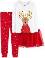 Carter's Baby Girls 3-Pc. Reindeer Tutu Pajama Set