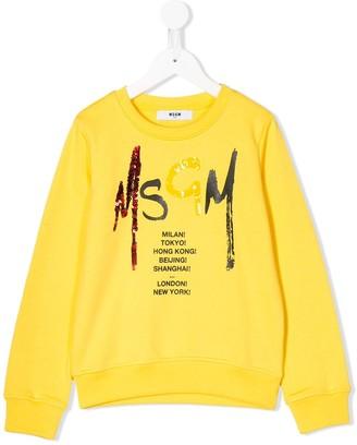 Msgm Kids Sequinned Logo Cotton Sweatshirt