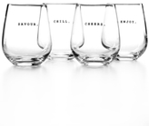 The Cellar Whiteware Words Set of 4 Stemless Wine Glasses