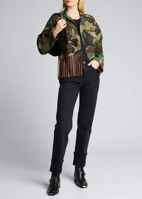 R 13 Abu Cropped Military Jacket with Leather Fringe