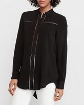 Express Eyelet Lace Trim Shirt