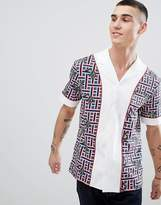 Class Roberto Cavalli Revere Shirt In White With Snake Check Print