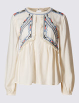 Marks and Spencer Pure Modal Embroidered Peasant Blouse