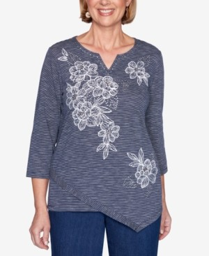 Alfred Dunner Petite Panama City Embellished Striped Asymmetric Top