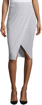 philosophy Draped Faux-Wrap Midi Skirt, Mist Grey