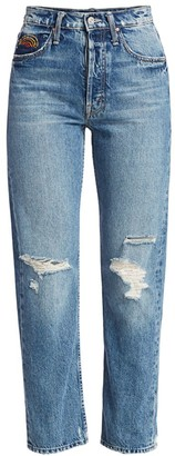 Mother The Tomcat High-Rise Ankle Straight-Leg Distressed Embroidered Jeans