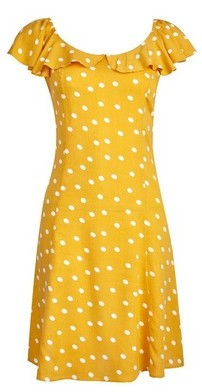 Dorothy Perkins Womens Yellow Ivory Spot Print Bardot Dress, Yellow