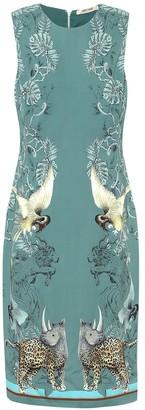 Roberto Cavalli Animal-print crApe midi dress