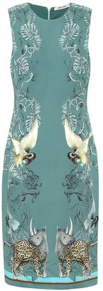 Roberto Cavalli Animal-print crepe midi dress