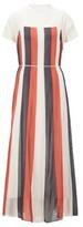 BOSS Chiffon maxi dress with flared skirt and tie belt