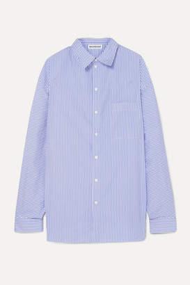 Balenciaga Oversized Striped Cotton-poplin Shirt - Blue