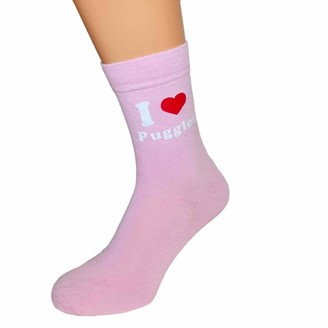 Ashton and Finch I Love Puggles Ladies Pink Socks | For Birthdays Weddings And Special Occasions | Fun Personalised Socks | One Size Fits All