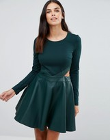 Forever Unique Adela Skater Dress With Cut Outs And Leather Look Skirt