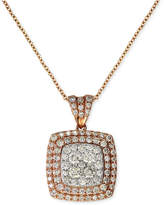 Effy Pave Rose by Diamond Pave Square Pendant (7/8 ct. t.w.) in 14k Rose Gold