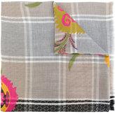 Etro woven floral check scarf