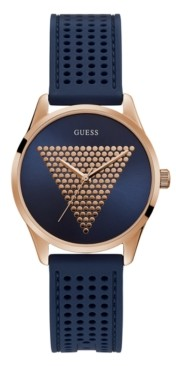 GUESS Unisex Rose Gold-Tone and Blue Silicone Logo Watch, 36mm