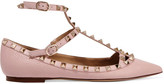Valentino Rockstud Textured-leather Point-toe Flats - Blush