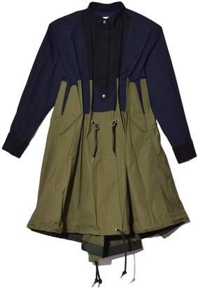 Sacai Cotton Poplin Dress in Navy/Khaki