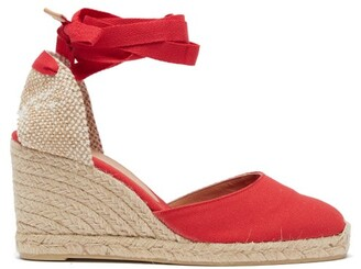 Castaner Carina 80 Canvas & Jute Espadrille Wedges - Womens - Red