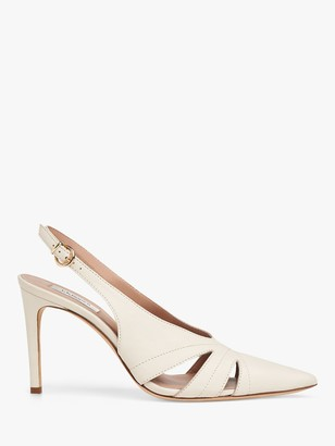 LK Bennett Helena Leather Pointed Toe Court Shoes, Off White