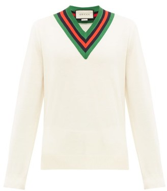 Gucci Web-stripe V-neck Wool Sweater - White