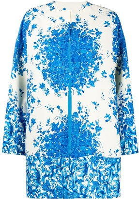 Valentino Bluegrace Bouquet collarless coat