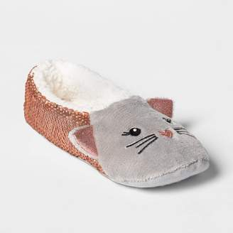 Women's Cat Flip Sequins Pull On Slipper Socks - Rose Gold