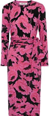 Diane von Furstenberg Gabel Floral-print Merino Wool Dress
