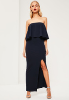 Missguided Navy Crepe Frill Side Split Maxi Dress