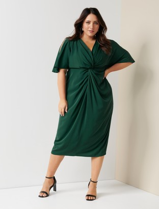 Forever New Nora Curve Twist Cold-Shoulder Dress - Deep Green - 16