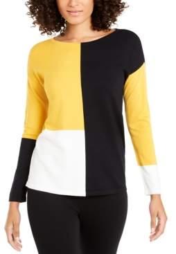 Alfani Petite Drop-Shoulder Colorblocked Top, Created For Macy's