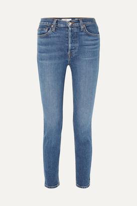 RE/DONE Originals High-rise Ankle Crop Stretch Skinny Jeans - Mid denim