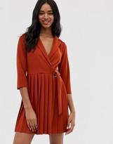 Asos Design DESIGN wrap shirt dress with pleated skirt